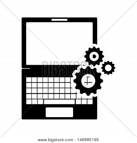 flat design laptop frontview and gears icon vector illustration