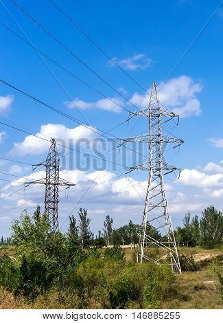 Electricity transmission pylon and power lines in a forest
