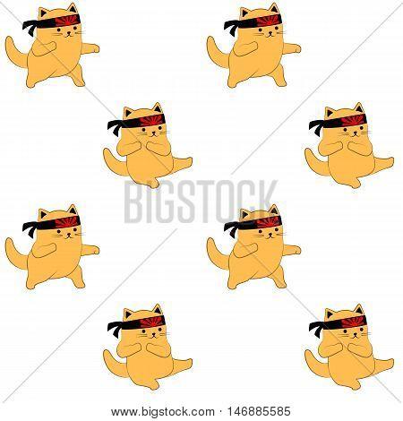 Colorful seamless pattern. Cute cartoon cats practice karate kicks.