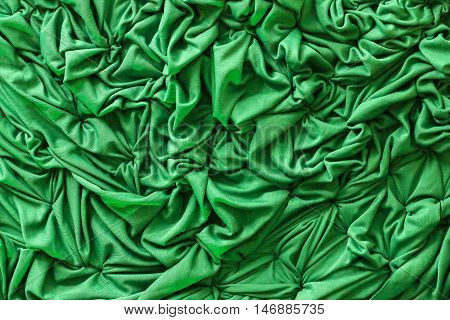 Green Satin Fabric Waves Background Cloth or Clothes wave Texture