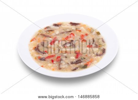 Cooked Chinese mix vegetables with black fungus mushrooms strips. Diet food for healthy life.