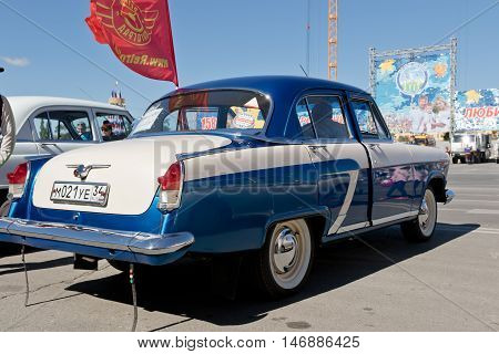 Restored And Painted In Shiny Metallic Blue Volga Gaz-21 At The Exhibition Of Vintage Cars