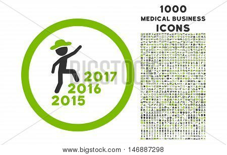Gentleman Steps Years rounded glyph bicolor icon with 1000 medical business icons. Set style is flat pictograms, eco green and gray colors, white background.