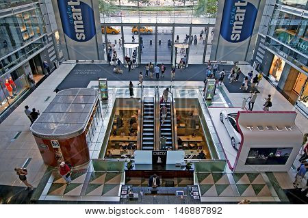 NEW YORK NEW YORK - SEPTEMBER 4: Overhead view of entrance to Time Warner Center in Manhattan. Taken September 4 2015 in New York.