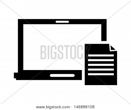 flat design laptop frontview and paper document icon vector illustration
