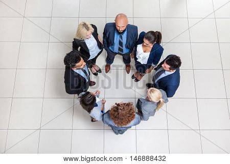 Business People Group Standing In Circle Top Angle View, Businesspeople Colleague Team