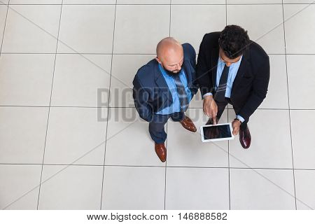 Businesspeople Working Using Tablet Computer, Two Business Man Standing Top Angle View