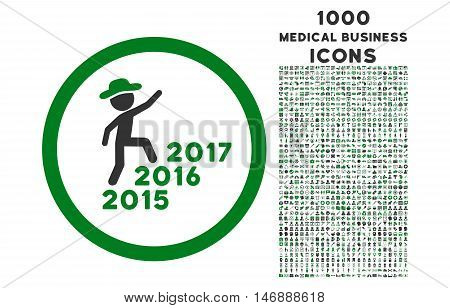 Gentleman Steps Years rounded glyph bicolor icon with 1000 medical business icons. Set style is flat pictograms, green and gray colors, white background.