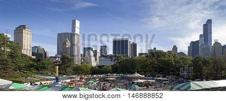 NEW YORK NEW YORK - SEPTEMBER 14: Victorian Gardens Amusement Park in Central Park. Taken September 14 2015 in New York.