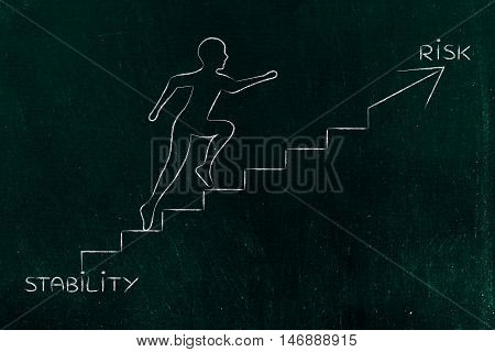 Stability Or Risk, Man Climbing Stairs Metaphor