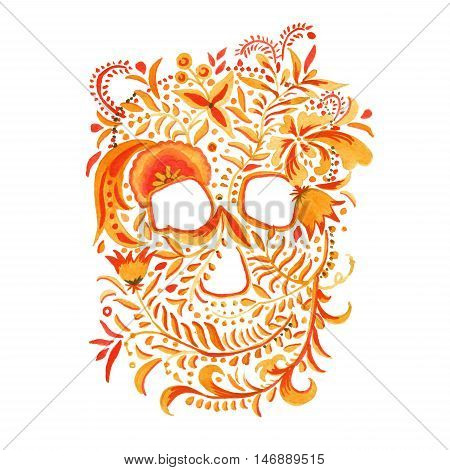 skull with Khokhloma ornament. Russian arts and crafts. isolated illustration. watercolor.