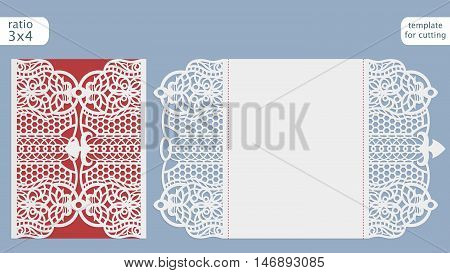 Laser cut wedding invitation card template vector. Cut out the paper card with lace pattern. Greeting card template for cutting plotter.