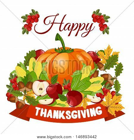 Vector Happy Thanksgiving celebration design. Holiday fall autumn seasonal celebration thanksgiving harvest banner. decoration, leaf thanksgiving harvest celebration logo. Traditional november dinner.