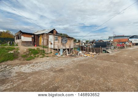 ZAGREB, CROATIA - OCTOBER 21, 2013: Ruined Roma Shack made from broken construction parts.