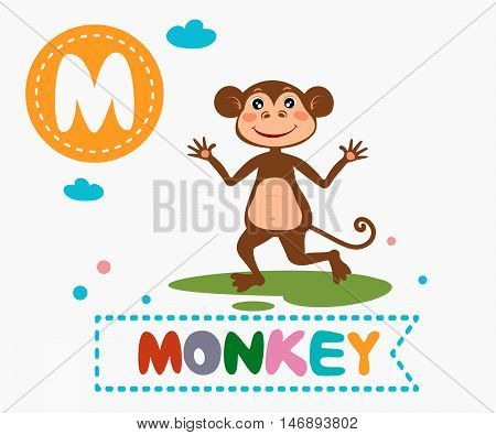 Hand Drawn Letter M And Funny Cute Monkey