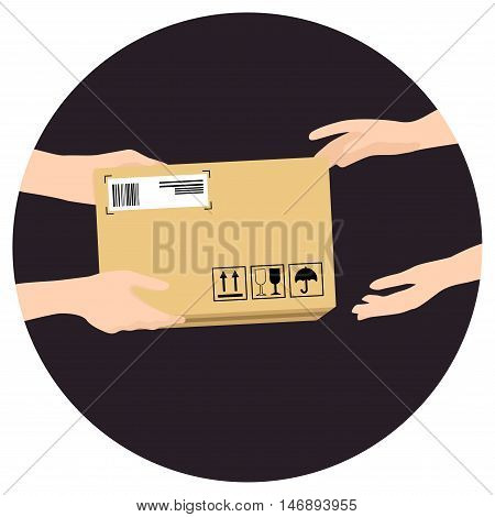 Concept for delivery service online shopping receiving package. Vector illustration. Hands of courier with parcel and customers hands.