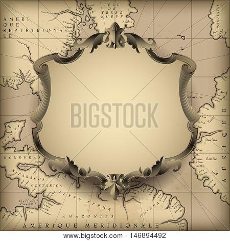 Vintage decorative frame against old geographic map background. Retro design element. Vector Illustration