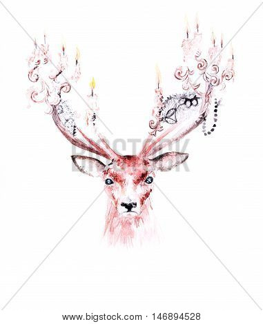 Surreal watercolor drawing of a deer with candles on its horns