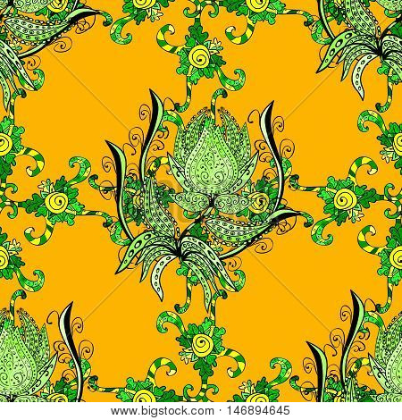 Seamless doodle pattern green doodles flower ornament on yellow background.