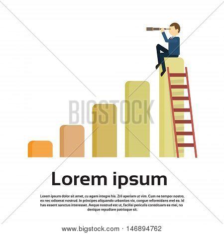 Businessman Sit On Financial Bar Graph With Binoculars Successful Future Flat Vector Illustration