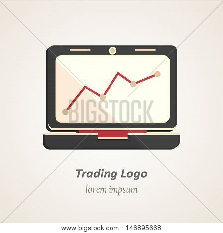 Finance flat logo. Growing graph vector icon on the laptop monitor. Stock-market illustration