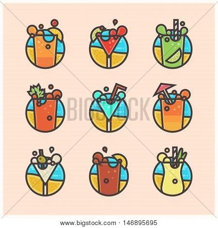 set of flat icons of popular cocktails