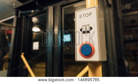 Stop button on a London City Bus.