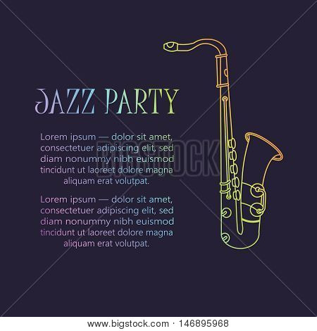 Saxophone logo. Thin line vector icon with music wind instrument. Sax logo.