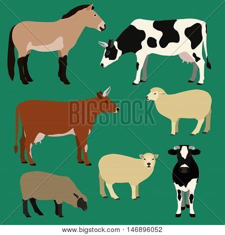 Farm animals vector set. Different cows sheeps horse illustration.