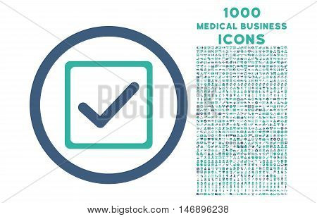 Checkbox rounded glyph bicolor icon with 1000 medical business icons. Set style is flat pictograms, cobalt and cyan colors, white background.