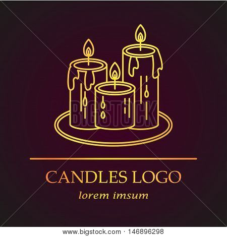 Logo with golden candles. Vector thin line icon. The symbol of magic, Christmas holidays, mysticism or romantic evenings.