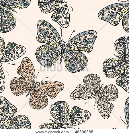 Seamless pattern with butterflies. Hand drawn vector zentangle butterfly illustration. Decorative abstract doodle design element.
