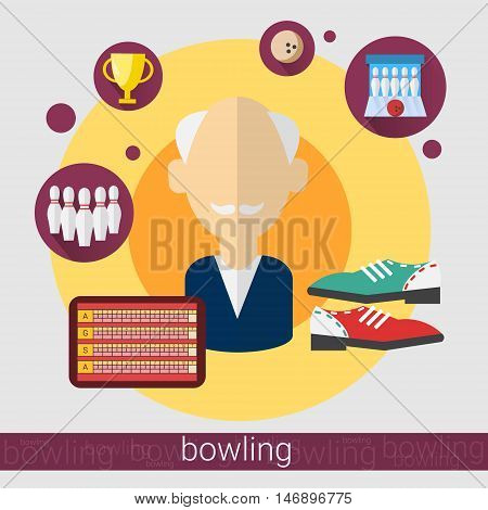 Bowling Game Player Senior Man Icon Flat Vector Illustration
