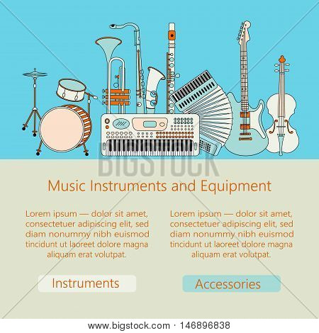 Unique vector illustration with different music instruments synthesizer, drums, accordion, violin, trumpet, harp, drum, saxophone, electric, guitar, flute. Music web or mobile template.