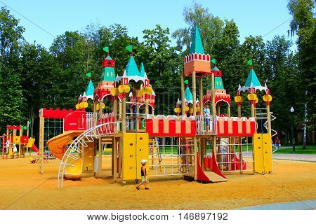 Kharkiv / Ukraine. 07 August 2016: childish fortress on the playground in the park. 07 August 2016 in Kharkiv / Ukraine.
