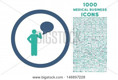 Person Idea rounded glyph bicolor icon with 1000 medical business icons. Set style is flat pictograms, cobalt and cyan colors, white background.