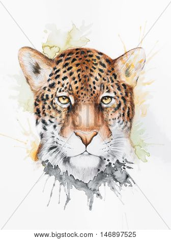 Watercolor photorealistic illustration of a jaguar with colorful splashes around