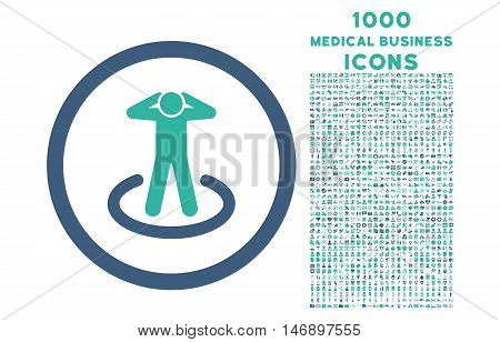 Prisoner rounded glyph bicolor icon with 1000 medical business icons. Set style is flat pictograms, cobalt and cyan colors, white background.
