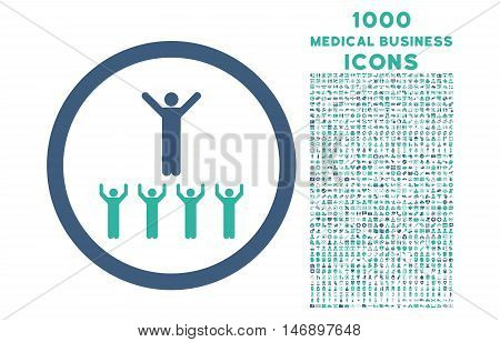 Religion Adepts rounded glyph bicolor icon with 1000 medical business icons. Set style is flat pictograms, cobalt and cyan colors, white background.