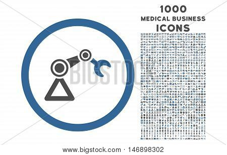 Artificial Manipulator rounded glyph bicolor icon with 1000 medical business icons. Set style is flat pictograms, cobalt and gray colors, white background.