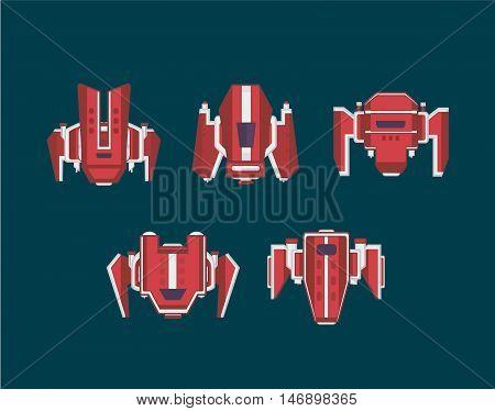 Flat spaceship set. spaceship for arcade game