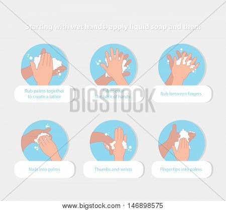 how to wash your hands sheet  properly infographic elements tips in flat. vector illustration
