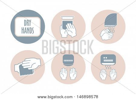 how to dry your hands sheet  properly infographic elements tips in flat. vector illustration