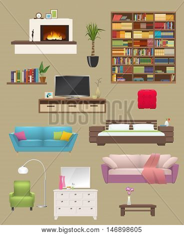 Furniture elements interior set with fireplace sofas and chair bookcase and tv stand isolated vector illustration