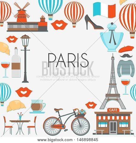 Paris round composition with famous buildings french food and clothing imprints of lips and balloons vector illustration