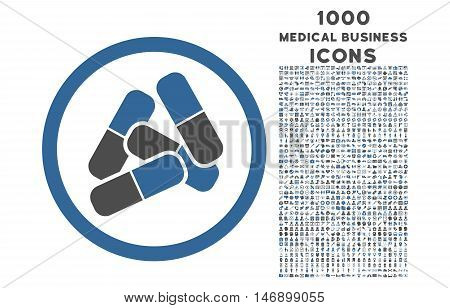 Pills rounded glyph bicolor icon with 1000 medical business icons. Set style is flat pictograms, cobalt and gray colors, white background.