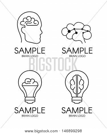 brain psychology idea creative logo design. isolated on white background