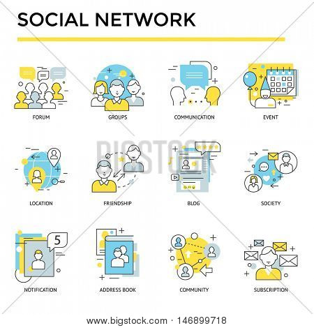 Social network icons, thin line, flat design