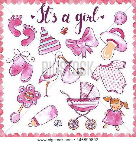 Newborn girl hand drawn elements set with baby clothing toys and objects for care isolated vector illustration