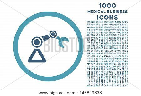 Artificial Manipulator rounded glyph bicolor icon with 1000 medical business icons. Set style is flat pictograms, cyan and blue colors, white background.